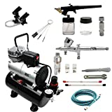 ABEST Complete Professional Airbrush Compressor kit Multi-Purpose Airbrushing System with 2 Airbrushes: 0.2MM\0.3MM\0.5MM