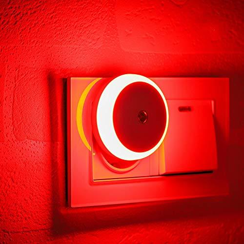 Nachtlicht Stecker, mit Dämmerungssensor, Diffusem Licht, Energieeffizient LED, Automatisch ON OFF, Nachtlicht für Schlafzimmer, Badezimmer, Flur, Treppe, Kinderzimmer, Rot, 2er Pack