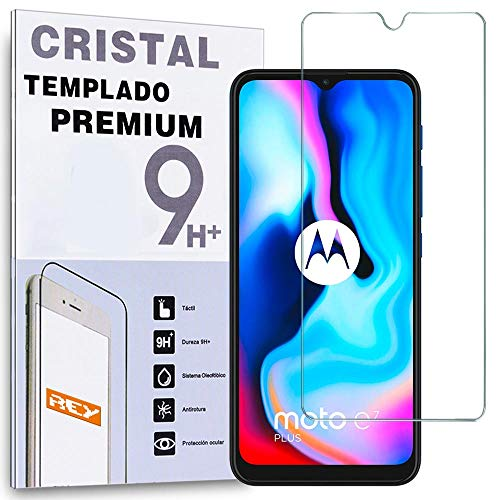 REY Protector de Pantalla para Motorola Moto E7 Plus, Cristal Vidrio...