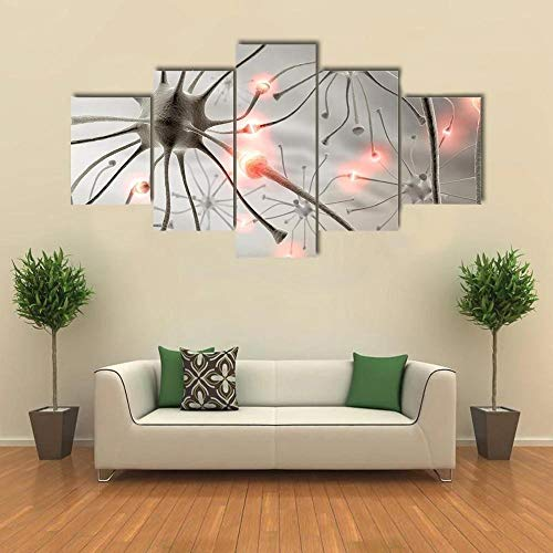 JJJKK Multi Panel Wall Art,Canvas Prints 5 Piece Hardwired Neurons Wall Art Home Decoration Painting Printed on Canvas Stretched and Framed Ready to Hang