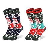 2 Paar Kinder Skisocken   Kniestrümpfe für Jungen und Mädchen   Warme Kinder Winter Thermo Socken Größen 26-34   Winter Sportsocken für Kinder (Dunkel-Grün 1/2 Paar)