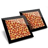 Impresionante juego de 2 posavasos de cristal, diseño de Pepperoni Pizza Teenage Boys Glossy Quality posavasos/protección de mesa para cualquier tipo de mesa #3874