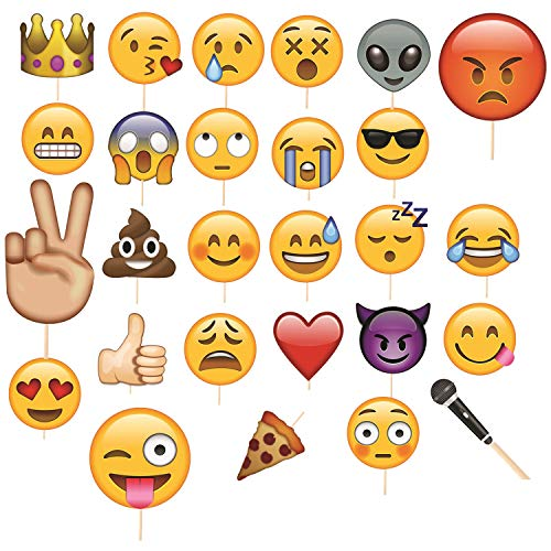 Trimming Shop 27 stücke Emoji Gesichter Selfie Photo Booth Lustige Maske Requisiten Hochzeit, Geburtstagsfeier, Kinder Party Favor Fotografie Dekoration