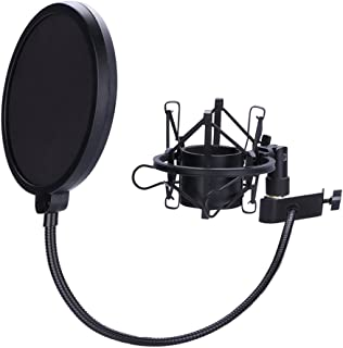 Microphone Shock Mount with 6 Inch Mic Round Shape Wind Pop Filter Mask Shield, Mic Anti-Vibration Suspension Shock Mount ...