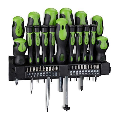Relaxdays Schraubendreher Set XXL, 37-teiliges Werkzeug Set, Kreuz & Schlitz, inkl. Bits, Wandhalterung, schwarz/grün