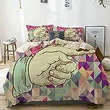 Bettbezug Set Beige, Vintage Icons Menschliche Hand mit einem Schnurrbart auf Retro farbigen Dreiecken Hintergrund, dekorative 3-teilige Bettwäsche-Set mit 2 Kissen Shams Pflegeleicht Antiallergisch W