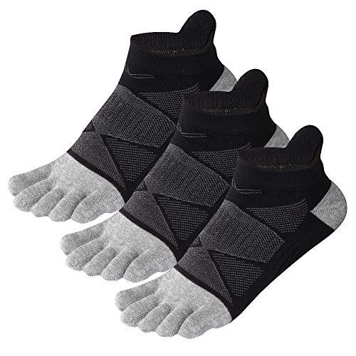 Womens Toe Socks Cotton Five Finger Socks No Show Toe Socks for Running 3 Pack (Black)