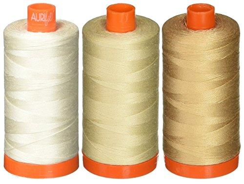 3-Pack - Aurifil 50WT - Muslin + Light Beige + Beige, Solid - Mako Cotton Thread - 1422Yds Each