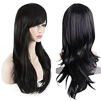 AKStore Women's Heat Resistant 28-Inch 70cm Long Curly Hair Wig with Wig Cap Black