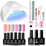 Beetles 6 Colors Nude Pink Gel Nail Polish Starter Kit with UV Light 48W LED Nail Lamp Dryer, Soak Off UV LED Glitter Gel Nail Polish Set Gel Base Top Coat Gel Manicure Nail Art Kit DIY Home