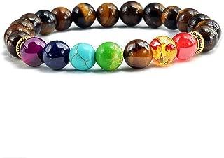 Brasun Jewelry Men and Women 8mm Lava 7 Chakra Essential Oil Diffuser Bracelet Elastic Natural Stone Yoga Bead Bracelet
