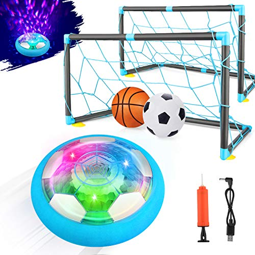 Growsland 2-in-1 Starlight Hover Soccer Ball Set with 2 Goals - Kids Toys Projector Rechargeable Air Soccer with Led Light & Foam Bumper Outdoor Indoor Toy Ideal Gift for Toddler Boys Girls