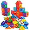 DEJUN Plastic Blocks Toys, 70 PCS Kids Building Blocks Set, Construction Play Board Building Blocks Recreational Educational Conventional Toys Gift for Toddler Boys Girls