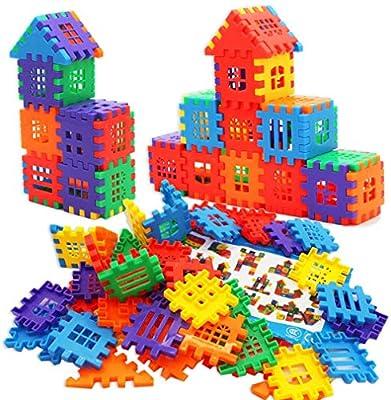 DEJUN Plastic Blocks Toys, 70 PCS Kids Building Blocks Set, Construction Play Board Building Blocks Recreational Educational Conventional Toys Gift for Toddler Boys Girls