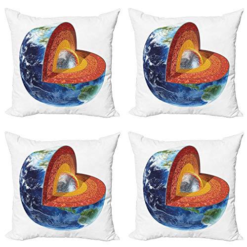 ABAKUHAUS Tierra Set de 4 Fundas para Cojín, Ciencias de la Tierra Interno de la Base, Estampado Digital en Ambos Lados y Cremallera, 60 cm x 60 cm, Multicolor