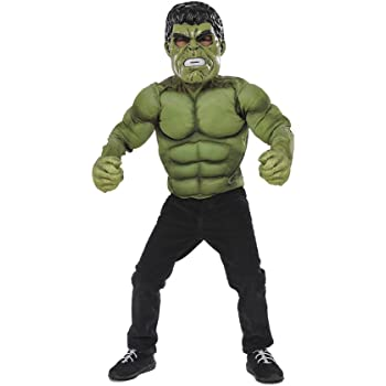 Avengers - Disfraz de Hulk, pecho musculoso y máscara para niños ...