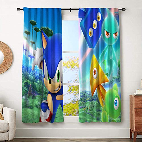 Sonic The Hedgehog Blaze The Cat Curtains for boy room, Blackout Window Curtain Decorative Curtains W55 x L63 Inch