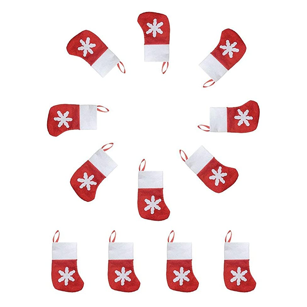 Christmas Sock Gift Bags Snowflake Tableware Holders Candy Pouch Pack 12pcs