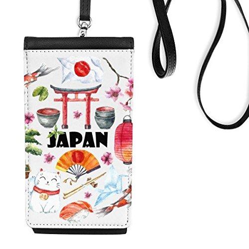 Japan Cultuur Leuke Japanse Stijl aquarel Nationale Vlag Lucky Cat Sakura Sushi eetstokjes Carp Archway Lantaarn Illustratie Faux Leer Smartphone Hangende portemonnee Zwart Telefoon Portemonnee