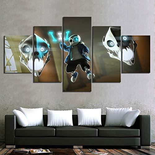 Leinwanddrucke High Definition Bilder Wandkunst 5 Panel Sans Game Undertale Malerei Home Decor Modular Poster für Wohnzimmer(size)