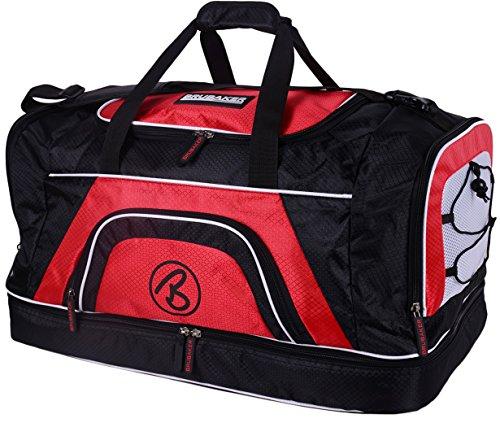 Brubaker 'Medium Base' Sporttasche 52 L mit großem Nassfach als Bodenfach + Schuhfach - Schwarz/Rot