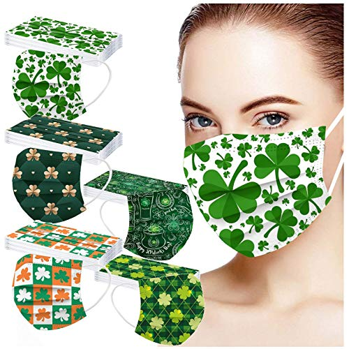50PC Disposable Face_Mask Unisex Adult Shamrocks Pattern Print 3-Layer Non-Woven Fabric Elastic Earloops Dust-Proof Breathable Face_Shields Women Men Holiday Party Use
