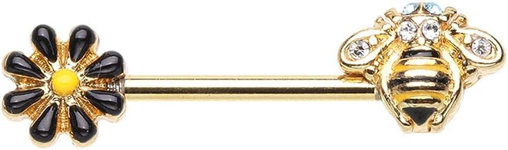 Covet Jewelry Golden Queen Bee Nipple Barbell Ring