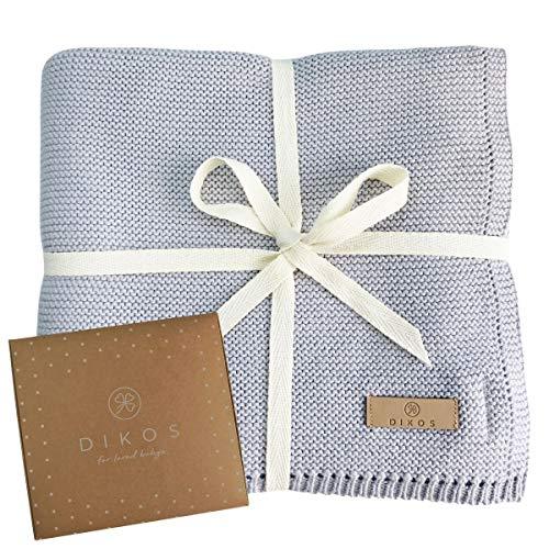 Babydecke Baumwolle aus * 100% * GOTS BIO Baumwolle grau mit dünner Bordüre für Mädchen/Junge Strickdecke Baby Decke Baumwolldecke Strick Wolle Kinderwagen Kuscheldecke Erstlingsdecke Wolldecke