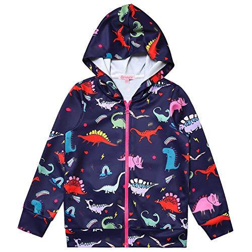 QPANCY Unisex Dinosaur Hoodie for Girls Boys Sweatshirts Zip Up Jacket Clothes 6t 7t