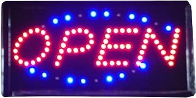 RongZhan Atractivo Letrero Tipo neón con Luces LED, Texto Luminoso «Open», para Tienda o Comercio