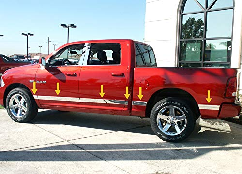 Made in USA! Compatible with 2009-2018 Dodge Ram Crew Cab Short Bed W/O Fender Rocker Panel Molding Trim 3 1/4' 12PC