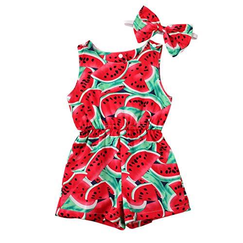 GOOCHEER Toddler Kids Baby Girl Jumpsuit Romper Sleeveless Bodysuit Watermelon Lemon Outfit Summer Clothes 1-5t (Watermelon, 5-6T)