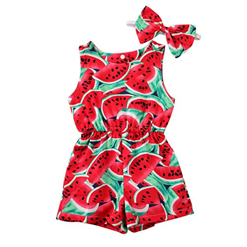 2PCS Toddler Baby Girl Romper Outfit Sleeveless Watermelon/Lemon Print Bodysuit One-Piece Jumpsuit Summer Clothes (Red, 2-3 Years)