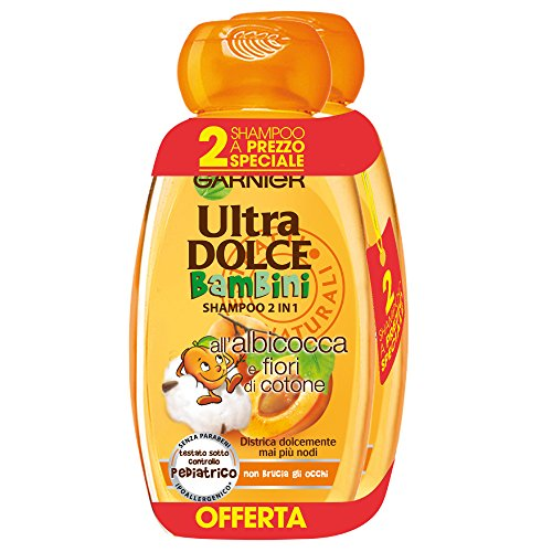 Garnier Ultra Dolce Shampoo 2-in-1 voor kinderen abrikoos en katoenen bloemen, zonder parabenen, hypoallergeen, 300 ml, 3 verpakkingen met elk 2 stuks