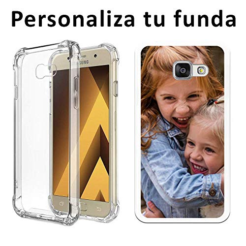 Mookase Funda Carcasa Personalizada Reforzada para tu móvil Samsung Galaxy A3 2016 con Foto, Imagen o Texto. Flexible, Bordes Transparentes