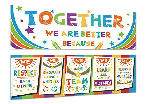 Chillake Inspirational Motivational Classroom Banner Decorations, 2 Pack Educational Classroom Decor Banners and Wall Decor for Teacher Students, Together We are Better 13x39 Inches (Fabric)