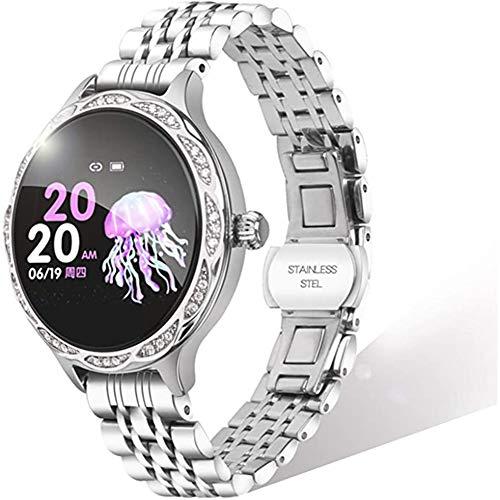 Smartwatch Damen Bluetooth Fitness Armbanduhr Voll Touchscreen Fitness Tracker mit 9 Sport modi Schrittzähler Kalorienzähler Schlafüberwachung DIY Hintergrund Sportuhr für Android IOS,Silver a
