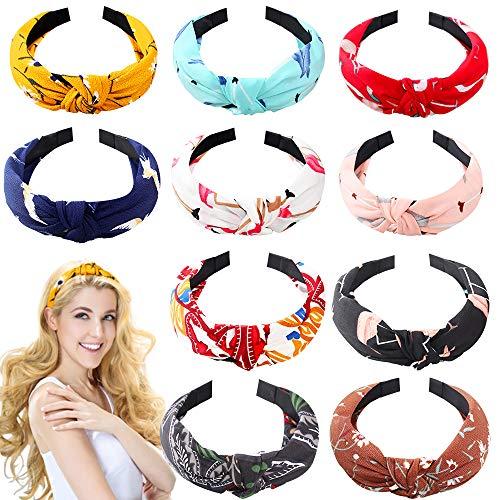 10 Stücke Knoten Stirnbänder Blumendruck kreuz Haarreif Damen Turban Haar Zubehör Haarschmuck Make-up Haarband Hoop Set für Frauen und Mädchen