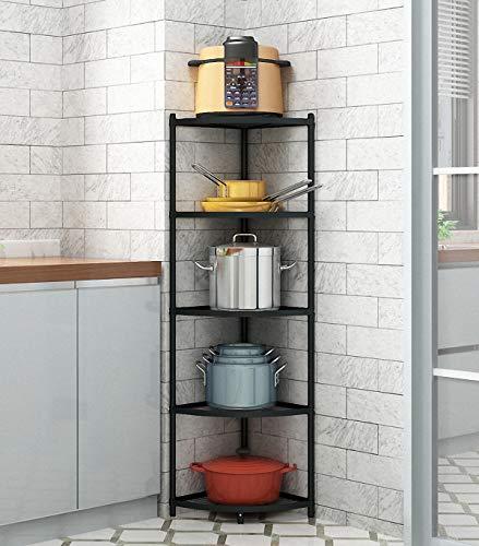 5-Tier Kitchen Corner Shelf Rack Free Standing Pot Rack for Organizer Stainless Steel Cookware Stand