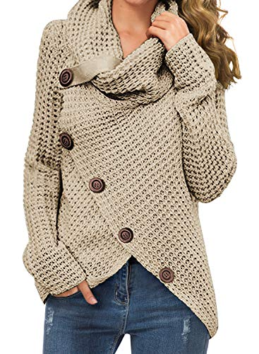 GRECERELLE Women's Solid Color Chunky Button Pullover Sweater Turtle Cowl Neck Asymmetric...