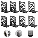 Adkwse Bookends, Book Ends, Book Ends for Office, Bookends for Shelves, Bookend, Book Ends for Heavy Books, Book Shelf Holder Home Decorative, Metal Bookend Supports, Book Stopper, Black (4 Pairs)