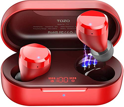 TOZO T12 Wireless Earbuds Bluetooth Headphones Premium Fidelity Sound Quality Wireless Charging Case Digital LED Intelligence Display IPX8 Waterproof Earphones Built-in Mic Headset for Sport Red