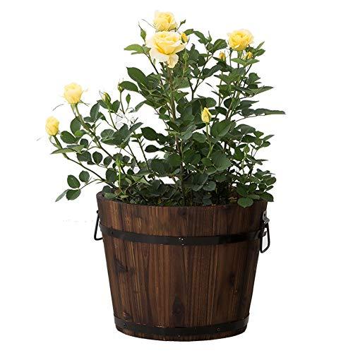 XJJUN Jardinière De Baril,Round Flower Garden Pot En Bois Seau Respirant Perméable Fleur Plante En Pot Panier Balcon Intérieur Succulent Fleurs Bucket 4 Tailles (Color : A, Size : 24x25x32cm)