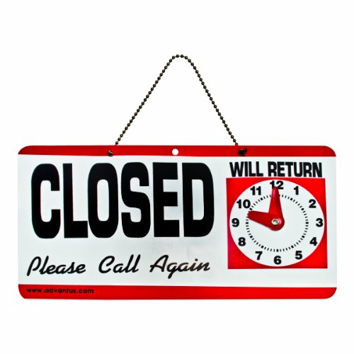 ADVANTUS 2-Sided Open/Closed with Hand Clock Sign, 11.5 x 6 Inches, Black/White/Red (83636)