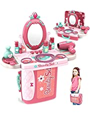 Dreamon Rollenspel Sieraden Make-up Kit voor Meisjes 3 in 1 Prinses Aktetas Cadeau voor Peuters Kinderen 3 jaar oud