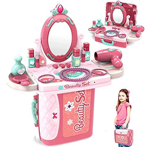 Dreamon Giochi d'imitazione Set, 3 in 1 Gioielli Ventiquattrore Trucchi Bambina Principesse Set Parrucchiera Bambini di 3 Anni