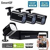SmartSF CCTV 1.0 MP Kit de videovigilancia, 4CH 1080N HD AHD DVR 4x720p 1500TVL Cámara de Vigilancia, con visión Nocturna, detección de Movimiento, Smartphone, PC fácil Acceso Remoto, sin HDD