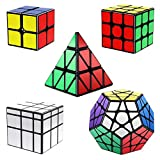 Vdealen Speed Cube Set, Cube Bundle 2x2 3x3 Pyramid Megaminx Mirror Magic Cube, Smooth Puzzle Cube Collection Games Toy Gift for Kids & Adults [5 Pack]