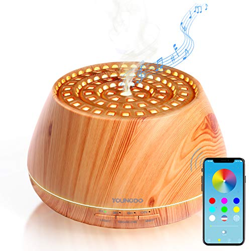YOUNGDO Aroma Diffuser 400ml, Bluetooth Lautsprecher, APP kabellose Fernbedienung, Nachtlicht, Aromatherapie Maschine, Luftbefeuchter, Raumbefeuchter für Schlafzimmer, Büro, Yoga, Spa (Kolosseum)