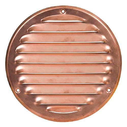 Griglia di ventilazione in rame con zanzariera rotonda in metallo, dimensioni esterne: 160 mm.